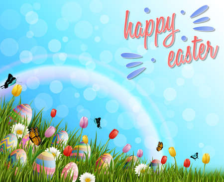 Beautiful nature background with easter egg