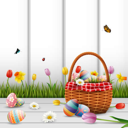 Vector illustration of Happy Easter with eggs and flowers on wood background Stock Photo