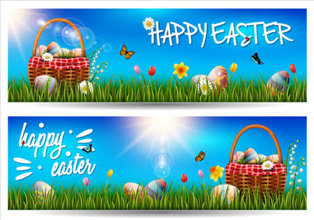 Vector illustration of Happy Easter horizontal banner on grass background