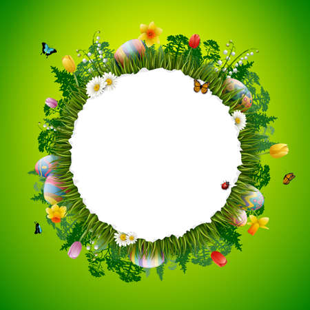 Collection of Easter eggs with nature background. Illustration