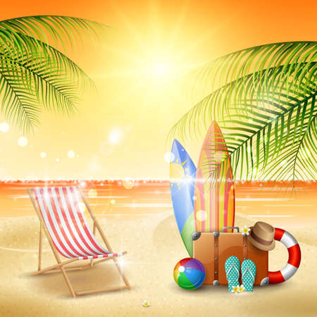 Summer holidays poster template vector illustration