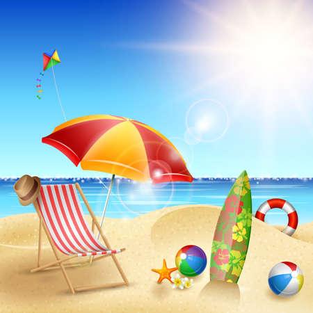 Illustration vectorielle de vacances d'été affiche modèle