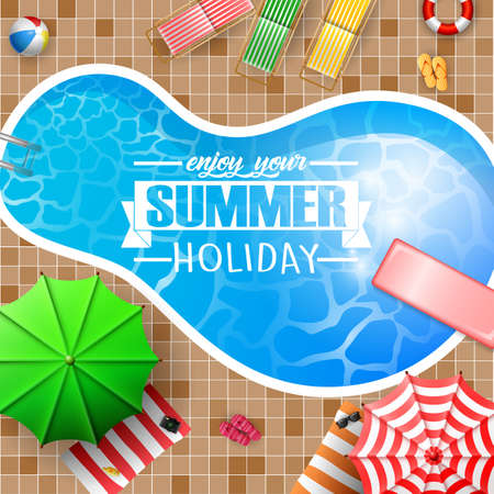 Summer background with swimming pool, umbrella, mattress
