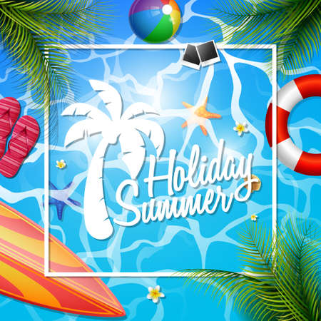 Summer beautiful holiday poster template vector illustration Stock Illustratie
