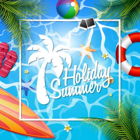 Zomer mooie vakantie poster sjabloon vectorillustratie