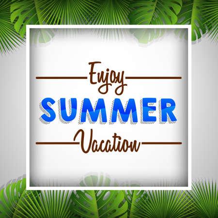 Enjoy summer vacation poster template vector illustration