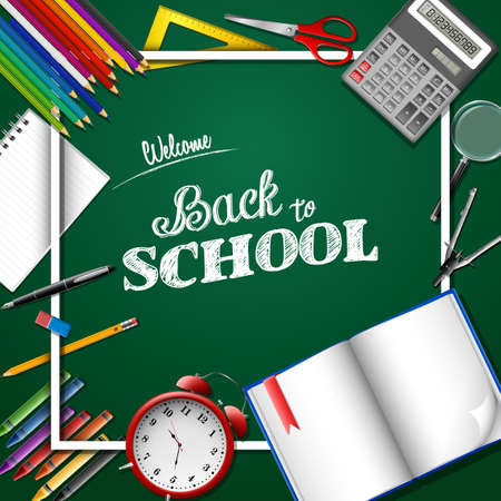 Welcome back to school poster template vector illustration