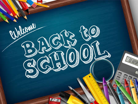 Cartoon school supplies Stockfoto