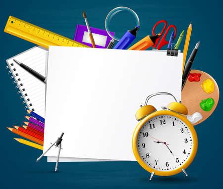 Back to school. Chalkboard with school supplies Zdjęcie Seryjne