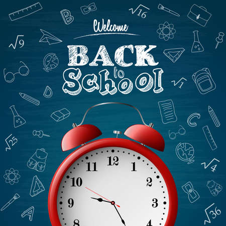 Back to school background with red alarm clock Ilustração