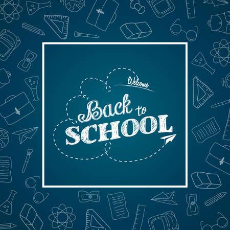 Back to school doodles in chalkboard background Vector illustration.