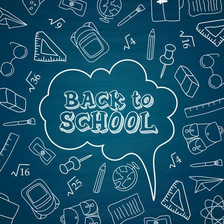 Back to school doodles in chalkboard background Vector illustration.