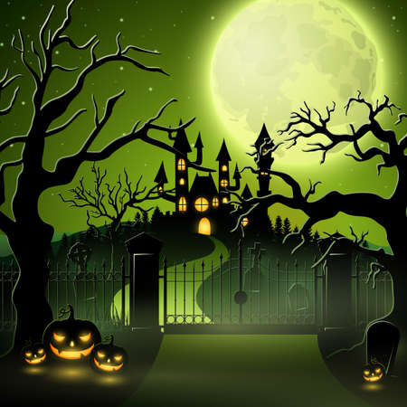 Creepy graveyard with castle and pumpkins.