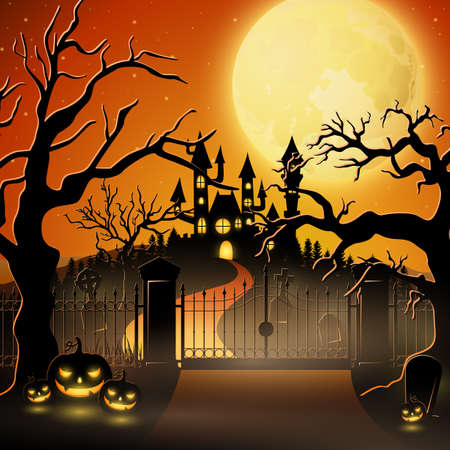 Creepy graveyard and pumpkins for holloween.