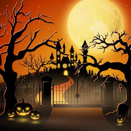 Cementerio espeluznante y calabazas para Halloween. Ilustración de vector