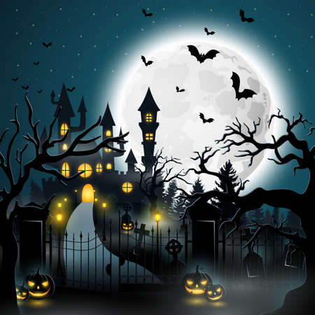 Creepy graveyard with castle and pumpkins illustration. Иллюстрация