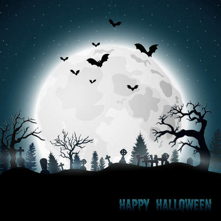 Halloween background with graveyard on the full moon Banco de Imagens