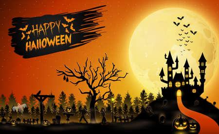 Cartoon Halloween template design Illustration