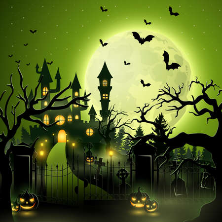 Creepy graveyard with castle and pumpkins