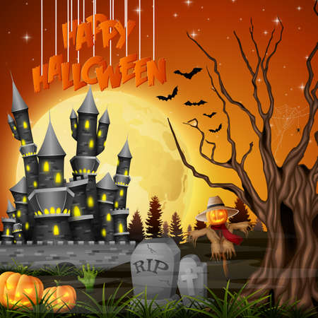 Vector illustration of Halloween background with castle and scarecrow
