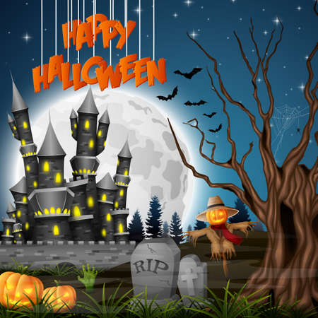 Halloween background with castle and scarecrow Stock Photo