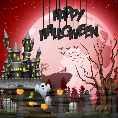 Vector illustration of Halloween background with graveyard and castle Иллюстрация