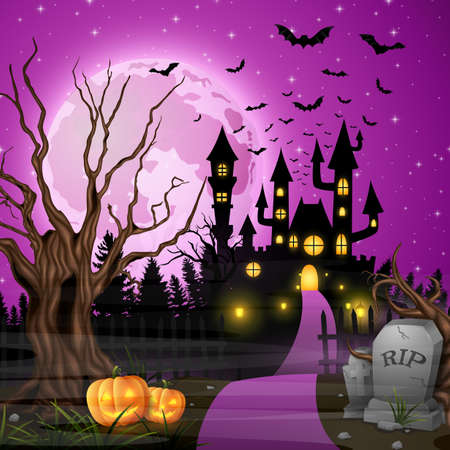 Scary castle with pumpkins and bats in the woods Illustration