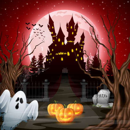 Scary castle with ghost and pumpkins in the woods Illustration