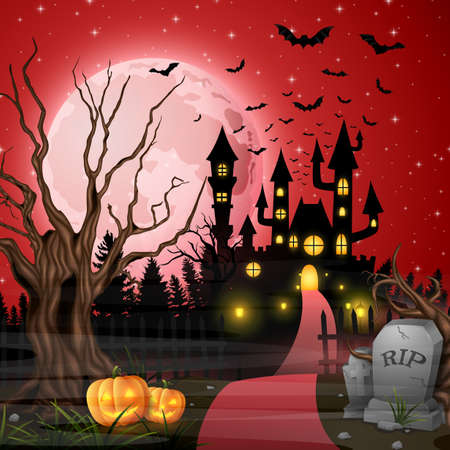Vector illustration of scary castle with pumpkins and bats in the woods