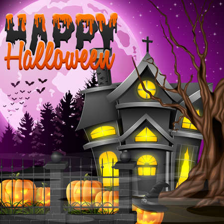 Vector illustration of Halloween night background with church and scary pumpkins Illustration