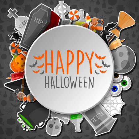 Happy halloween round banner with flat icons stickers on gray background