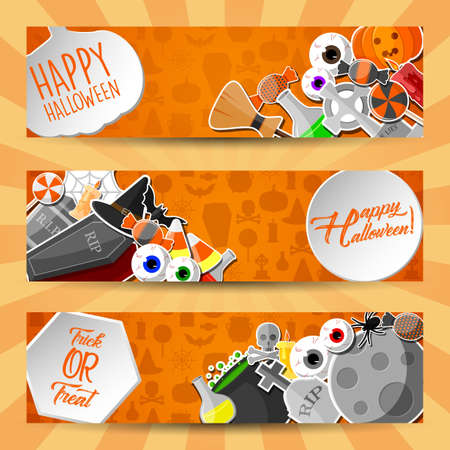 Halloween horizontal banners with flat icons stickers on orange background