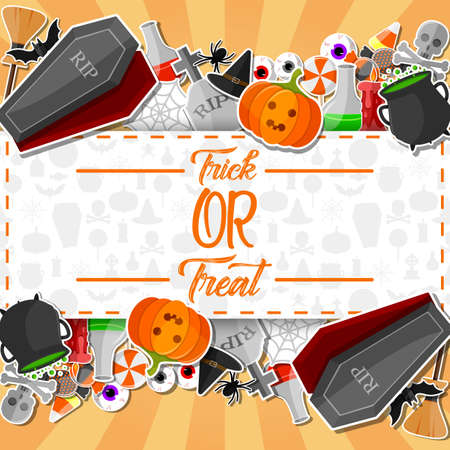 Vector illustration of Halloween banner with flat icons stickers on orange background Stock Photo