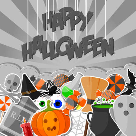 Halloween banner with flat icons stickers on gray background
