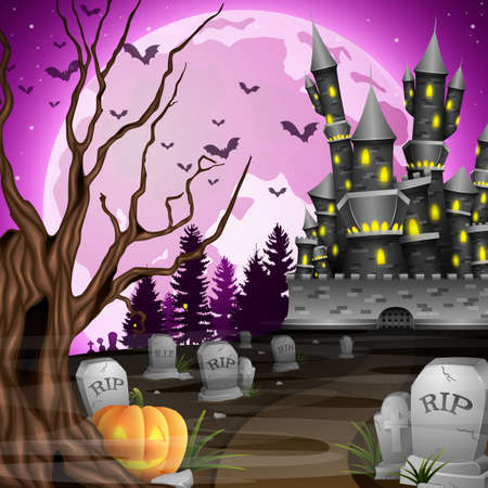 Vector illustration of Halloween background with castle and pumpkin in graveyard Stock Photo