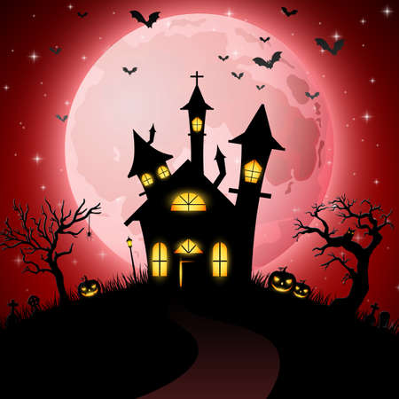 Halloween background with scary church Stock Illustratie