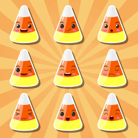 Collection of cartoon candy corn smileys Illustration