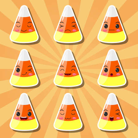 Collection of cartoon candy corn smileys Vettoriali