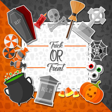 Halloween banner with flat icons stickers