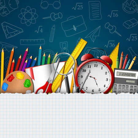 School background with school supplies and empty paper Banco de Imagens - 100814552