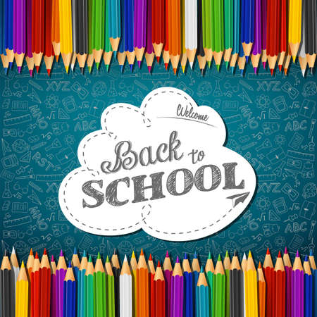 Vector illustration of Welcome back to school with colored pencils on chalkboard