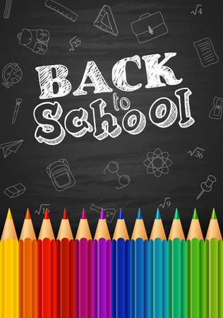 Back to school background with doodle elements on chalkboard and colorful pencils