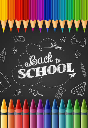 Welcome back to school with colored pencils and crayons