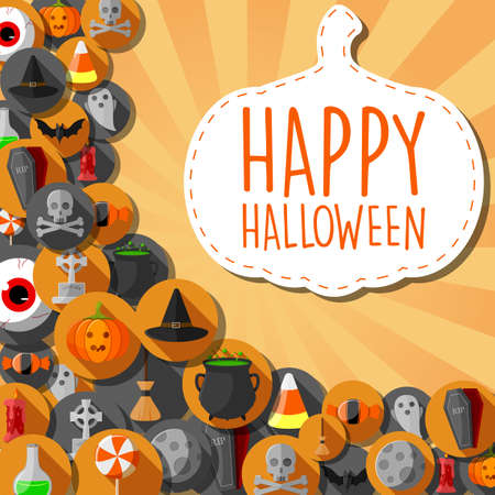 Vector illustration of Halloween banner with flat icons in circles background Ilustração