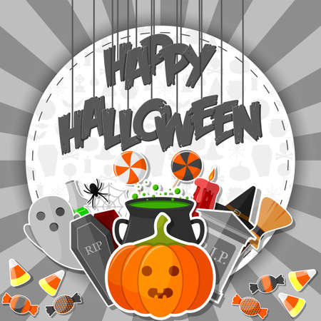 Happy halloween banner with flat icons stickers on gray background