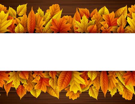 Hojas de otoño con rectángulo en blanco