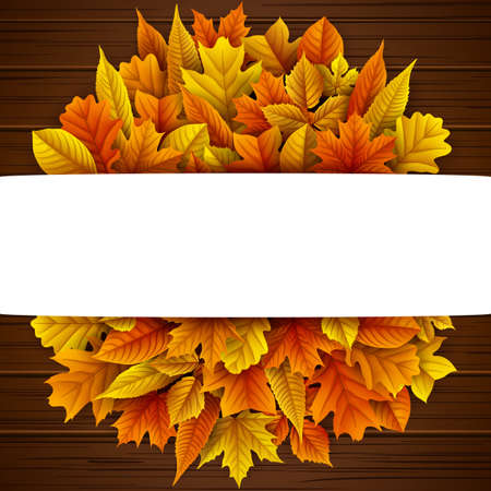 Autumn leaves circle with blank banner Stock Photo