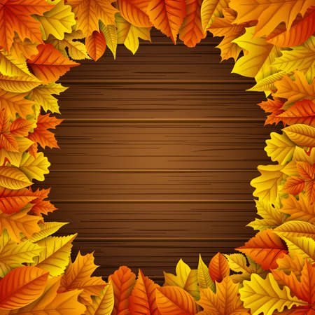 Autumn leaves frame on wooden background Illustration