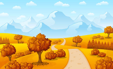 Vector illustration of Autumn landscape with mountains and trees Иллюстрация