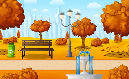 Vector illustration of Autumn city park with bench and fountain 矢量图像
